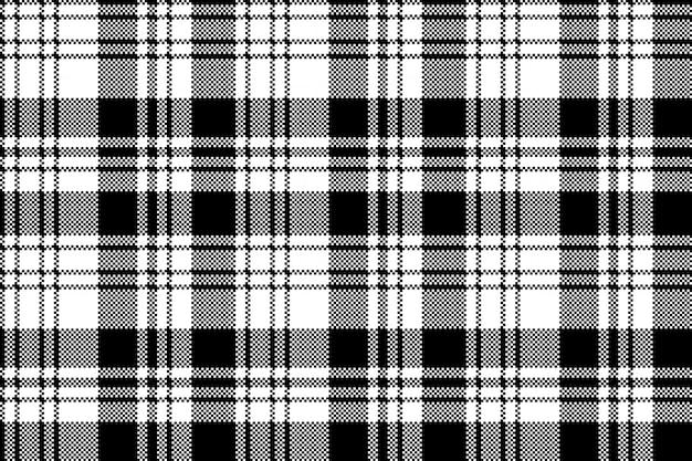 Pixel black white plaid seamless pattern