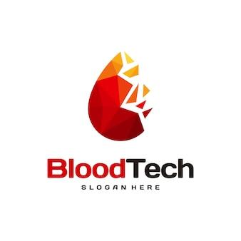 Пиксельный символ логотипа крови, шаблон дизайна логотипа здравоохранения крови, вектор концепции дизайна логотипа технологии крови
