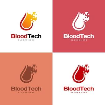 Pixel bloodロゴシンボル、blood healthcareロゴデザインテンプレート、bloodtechnologyロゴデザインコンセプトベクトル