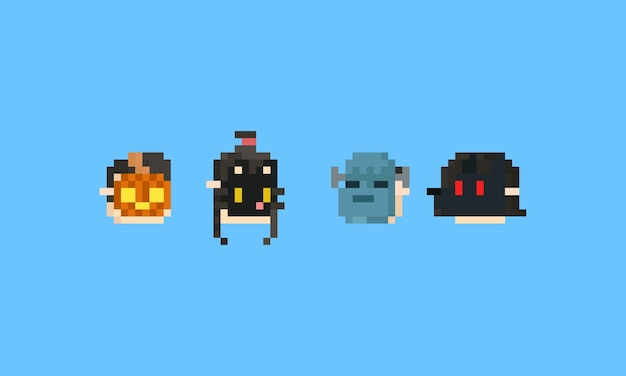 Pixel boy and girl head with halloween mask