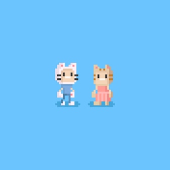 Pixel boy and girl wearing cat hats