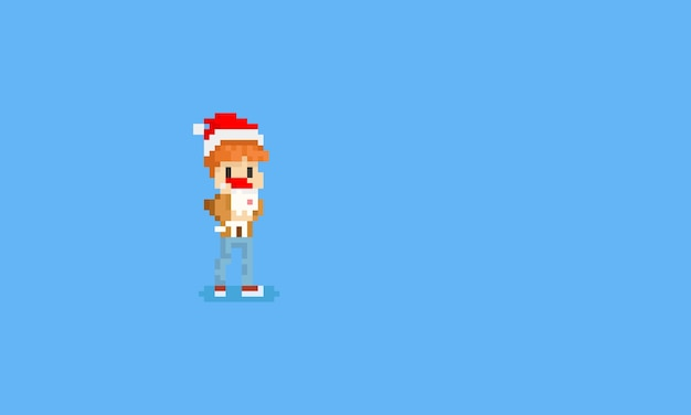 Pixel boy holding white cat with christmas hat