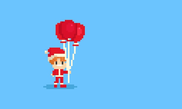 Pixel boy in santa claus's costume holding the red balloons