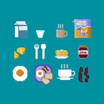 Pixel breakfast elements.