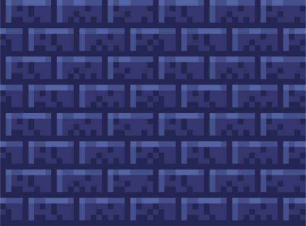 Пиксельная кирпичная стена бесшовные модели. кирпич обои камень, стена текстуры украшения, фон квадратный пиксель для видеоигры. векторная иллюстрация