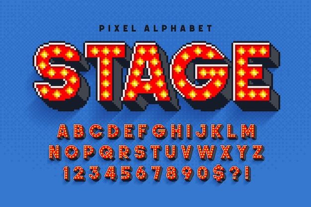 ピクセルブロードウェイショーのアルファベットデザイン、8ビットゲームのように様式化