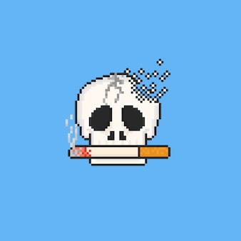 Pixel broken skull with cigarette. 8bit. no tobacco day.