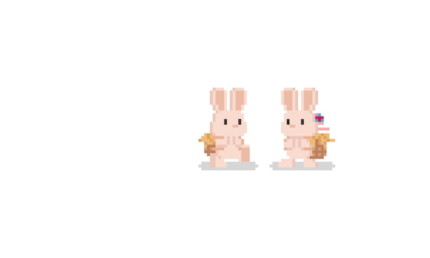 Pixel brown bunny with back basket