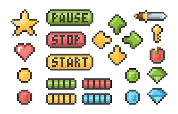 Пиксельные кнопки. набор пикселей элементов пользовательского интерфейса панели меню пиктограммы ретро видеоигры трофей. коллекция кнопок иллюстрации, веб-пиксель ретро