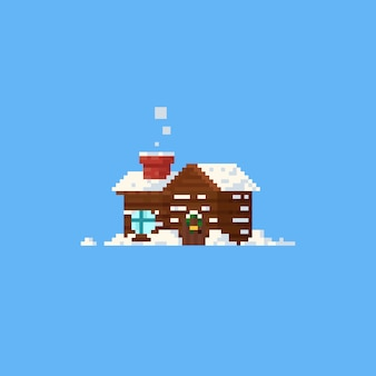Pixel cabin with snow