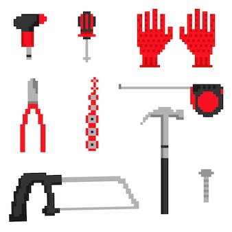 Pixel carpenter tools icons in vector
