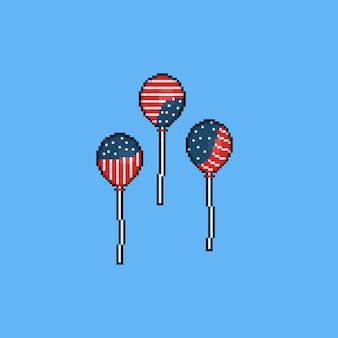 Pixel cartoon balloon with american flag color.4th july.independence day.