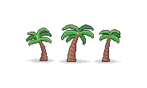 Pixel cartoon coconut tree