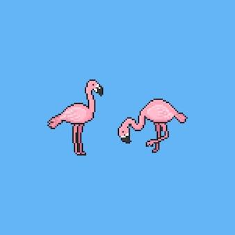 Pixel cartoon flamingo bird. summer elements