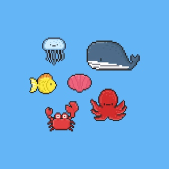 Pixel cartoon sea animal collection