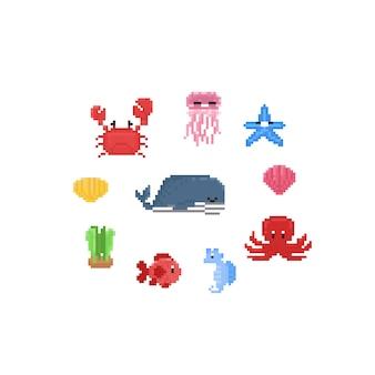 ピクセル漫画海の動物。8ビット文字セット。