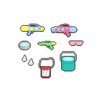 Pixel cartoon songkran festival element set