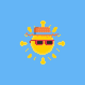 Pixel cartoon sun with pink sunglasses and hat