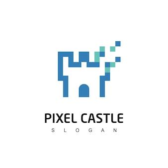 ピクセル城ロゴ強力な技術シンボル