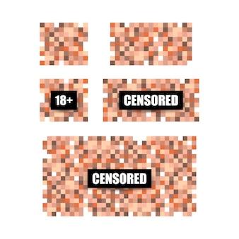 ピクセル打ち切りサイン。黒の検閲バーのコンセプト。ベクトルイラスト。