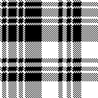 픽셀 체크 패브릭 질감 블랙 화이트 원활한 패턴