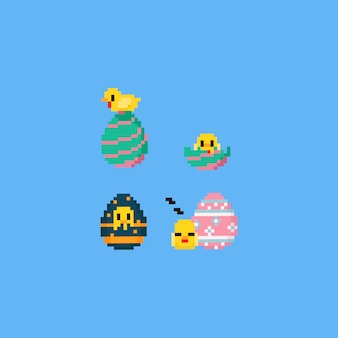 Pixel chick with easter egg