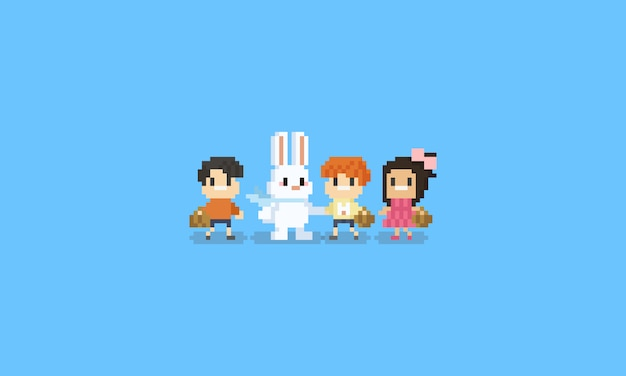 Pixel children character with easter rabbit character.8bit.