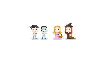 Pixel children in halloween costume