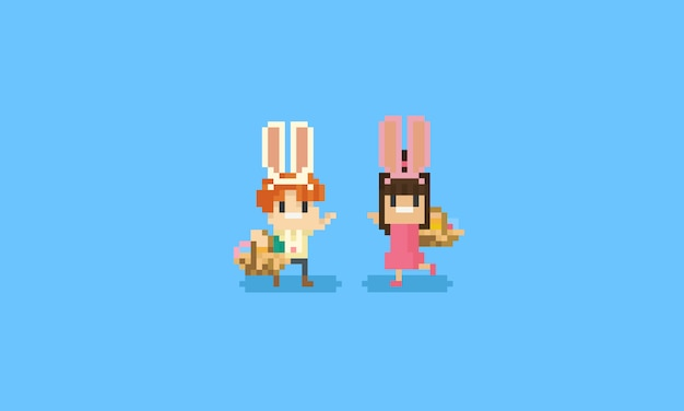 Pixel children with rabbit ears