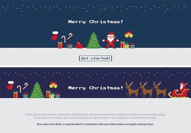 クリスマスツリーの近くで踊るサンタクロースのピクセルクリスマスバナーセット、赤い靴下、ギフト、お菓子、サンタがクリスマスそりに乗ってトナカイに乗って新年あけましておめでとうございます。コピースペース付きの2つのウェブサイトバナー