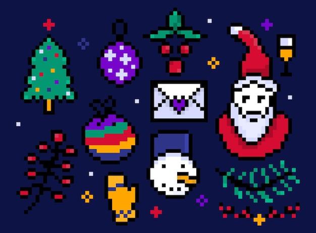 Пиксель рождественские элементы декора новогодний символ