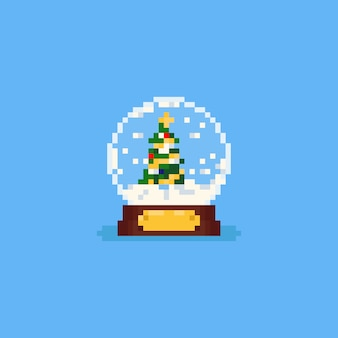 Pixel christmas tree inside the snow globe.8bit.