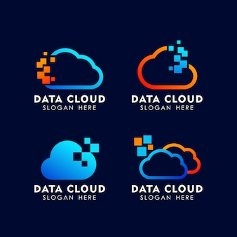 Pixel cloud logo design template