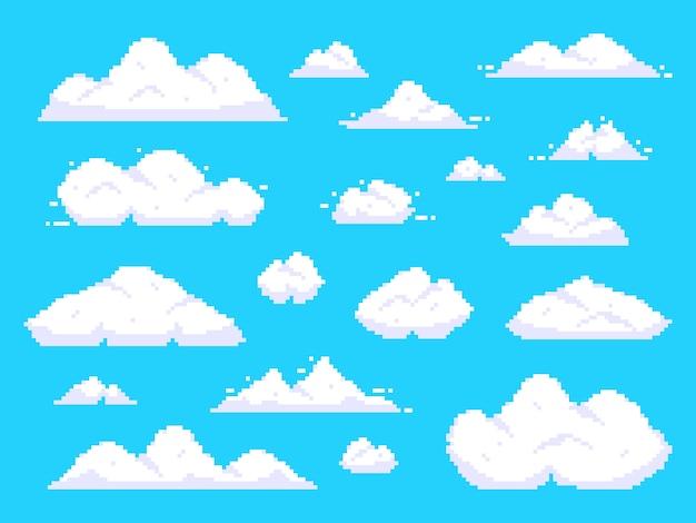 Pixel clouds. retro 8 bit blue sky aerial cloud pixel art background illustration