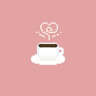 Pixel coffee cup with heart smoke