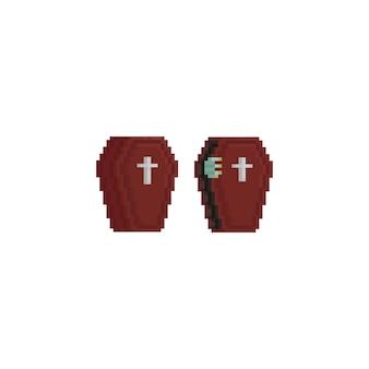 Pixel coffin with zombie hand.halloween