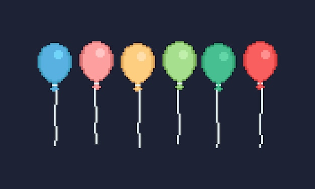 Pixel colorful balloon design for banner
