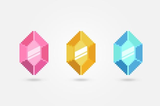 Пиксель красочные драгоценные камни вектор