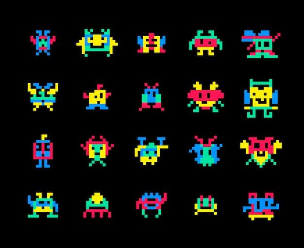 Пиксельные компьютерные игры захватчики иллюстрации.