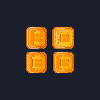 Pixel crypto currency set.