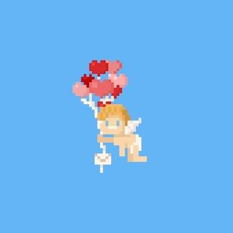 Pixel cupid holding heart balloons.valentine.8bit.