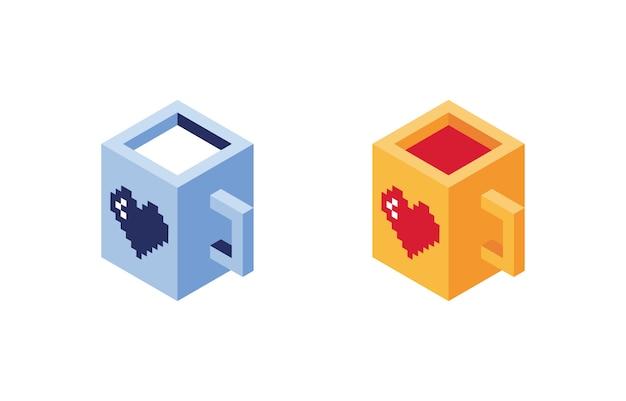 Пиксельные кубки в изометрии. кружка с соком и молоком