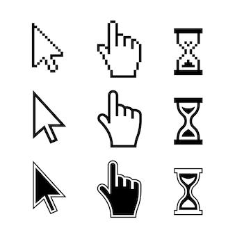 Пиксельные значки курсоров: песочные часы стрелка руки мыши. векторные иллюстрации