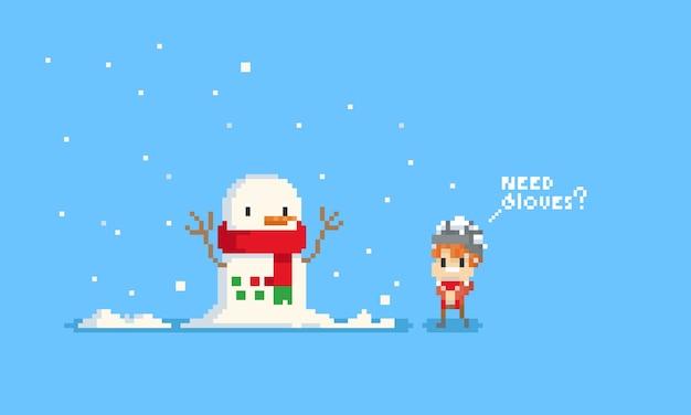 Pixel cute boy asking snowman about gloves