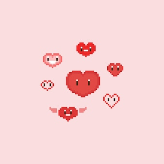 Pixel cute cartoon hearts