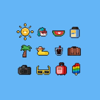 Pixel cute cartoon summer icon set.8bit.