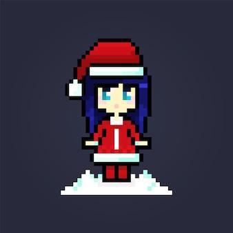 Пиксель милый персонаж санта костюм юная леди праздничная открытка