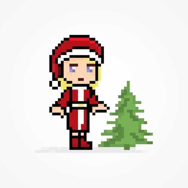 クリスマスツリーとピクセルかわいいキャラクターサンタクロースの女の子
