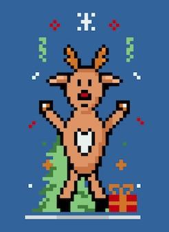 Пиксель милый олень рождественский персонаж вечеринка