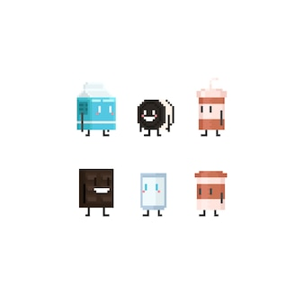 Pixel cute dessert and drink character